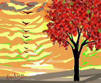 Abstract Seascape Digital Art - Evening Fall by Anand Swaroop Manchiraju
