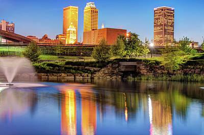 Evening Falls On Tulsa Skyline Art Print