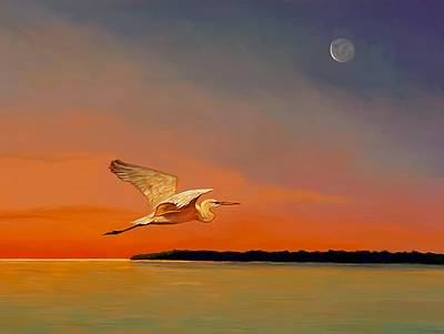 Painting - Evening Flight by David  Van Hulst