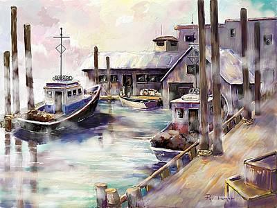 Shrimp Boat Painting - Evening Fog  by Pat Thomas