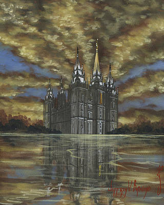 Salt Lake Temple Wall Art - Painting - Evening Glory by Jeff Brimley