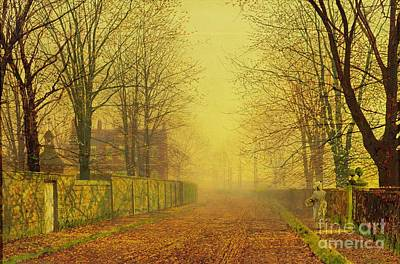 Fallen Leaf Painting - Evening Glow by John Atkinson Grimshaw