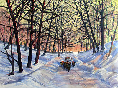 Painting - Evening Glow On A Winter Lane by Glenn Marshall