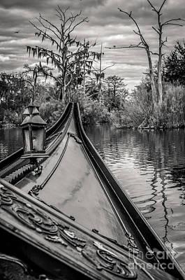 Photograph - Evening Gondola Ride-bw-nola by Kathleen K Parker