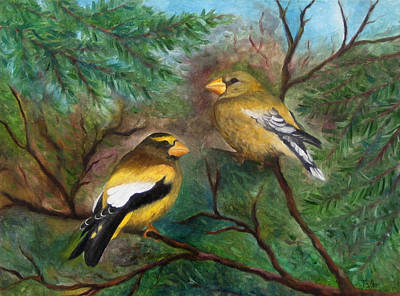 Painting - Evening Grosbeaks by FT McKinstry