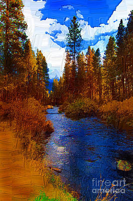Rainbow Trout Digital Art - Evening Hatch On The Metolius Painting by Diane E Berry