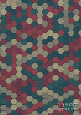 Evening Hexagon Pattern Square Art Print