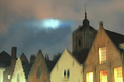 Digital Art - Evening In Bruge by Haleh Mahbod
