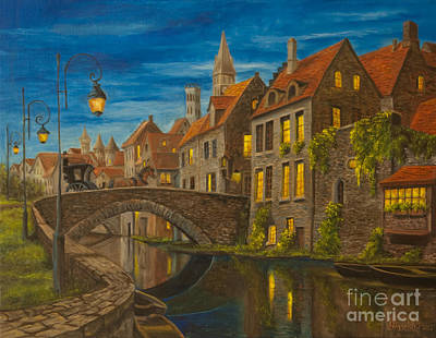 Evening In Brugge Print by Charlotte Blanchard