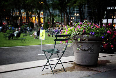Evening In Bryant Park- Photography By Linda Woods Art Print by Linda Woods