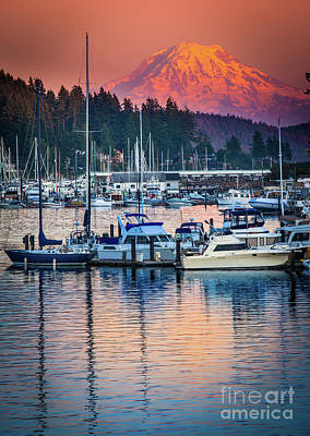 Illuminated Photograph - Evening In Gig Harbor by Inge Johnsson