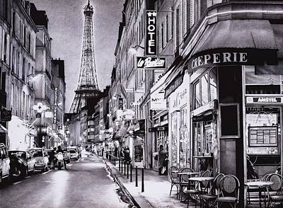 Bistro Drawing - Evening In Paris - Ballpoint Pen Art by Andrey Poletaev