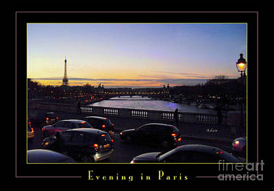 Photograph - Evening In Paris Poster Greeting Card by Felipe Adan Lerma