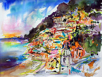 Evening In Positano Italy Art Print