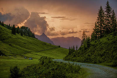 Sun Rays Photograph - Evening In The Alps by Nailia Schwarz