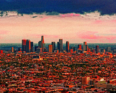Evening In The City Of The Angels Art Print by Timothy Bulone