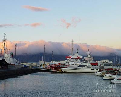 Abstract Stripe Patterns - Evening in the Old Harbor of Reykjavik by Barbie Corbett-Newmin