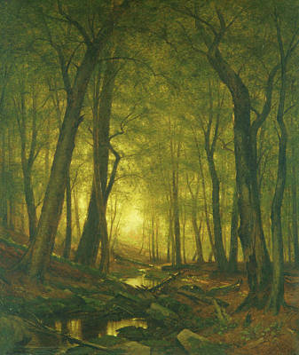 Painting - Evening In The Woods by Worthington Whittredge