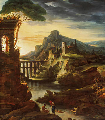 Bathing Painting - Evening, Landscape With An Aqueduct by Theodore Gericault