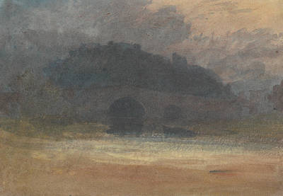 Evening Landscape With Castle And Bridge In Yorkshire Art Print by Joseph Mallord William Turner