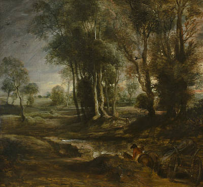 Evening Landscapes Painting - Evening Landscape With Timber Wagon by Peter Paul Rubens