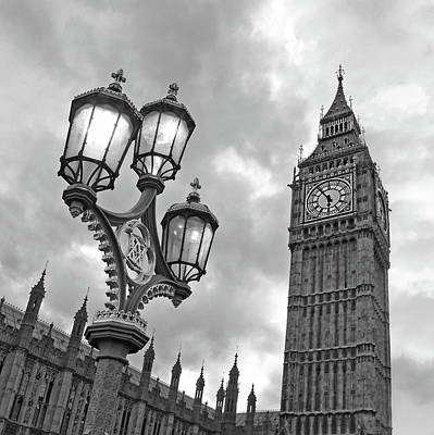 Photograph - Evening Light At Big Ben In Black And White by Gill Billington