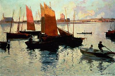 Fading Painting - Evening Light At The Port Of Camaret by Charles Cottet