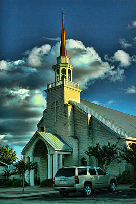 Rusted Cars Digital Art - Evening Light On Church by Linda Phelps