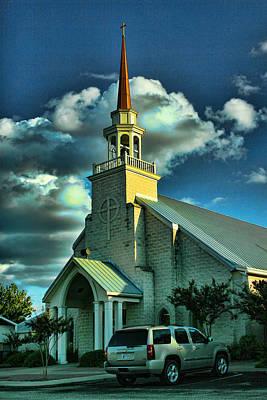 Evening Light On Church Art Print by Linda Phelps
