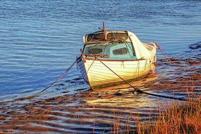 Photograph - Evening Light - The Old Fishing Boat At Low Tide by Gill Billington