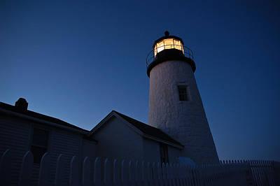 Evening Lighthouse Pemequid Point Me Art Print by Richard Danek