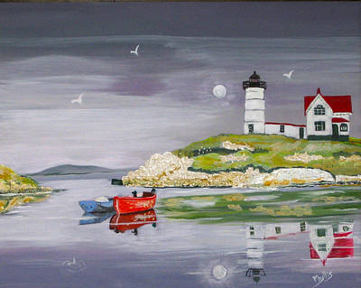 Art Print featuring the painting Evening Lighthouse by Phyllis Kaltenbach