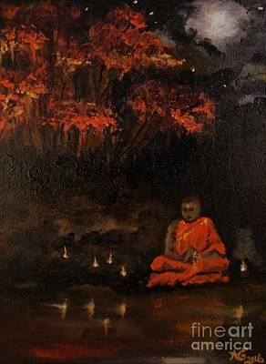 Zazen Painting - Evening Meditation by Sandra Gallegos