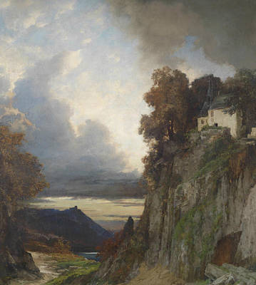 German Art Painting - Evening Mood At The Rhine River by Albert Flamm