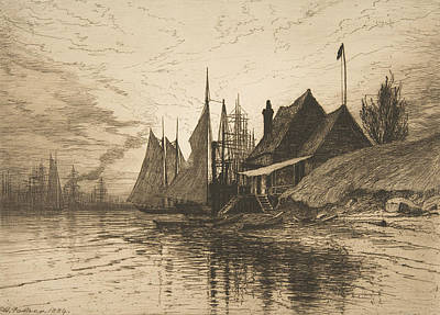 Relief - Evening, New York Harbor by Henry Farrer