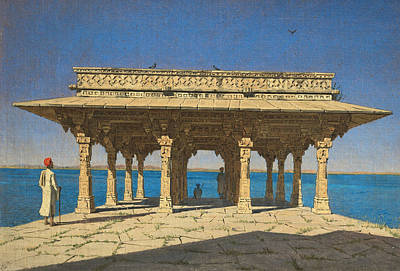 Painting - Evening On A Lake. A Pavilion On The Marble Embankment In Rajnagar by Treasury Classics Art