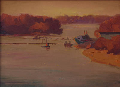 Desna Painting - Evening On Desna River by Victor Onyshchenko