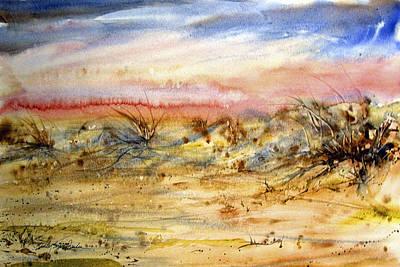 Sanddunes Painting - Evening On The Beach by Shirley Sykes Bracken