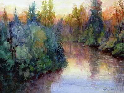 Abstract Landscape Painting - Evening On The Willamette by Steve Henderson