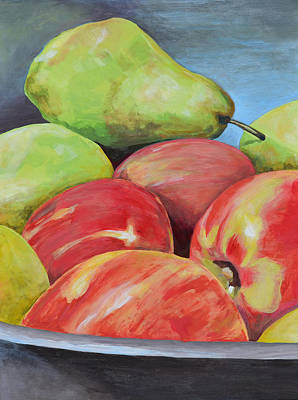 Still Life With Green Apples Painting - Evening Pears And Apples by Mary Chant