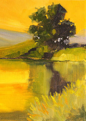 Painting - Evening Pond Landscape by Nancy Merkle