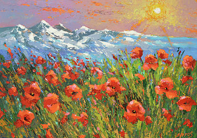 Painting - Evening Poppies  by Dmitry Spiros