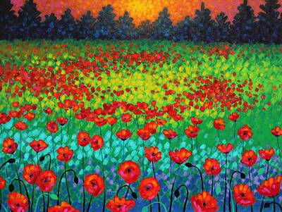 Green Movement Painting - Evening Poppies by John  Nolan