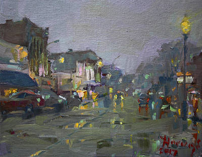 Light Reflections Painting - Evening Rain At Webster St by Ylli Haruni