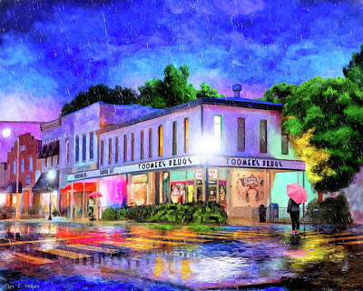 City Scenes Mixed Media - Evening Rain In Auburn by Mark Tisdale