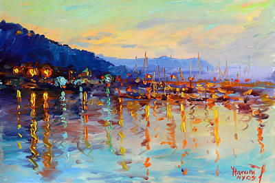 Light Reflections Painting - Evening Reflections In Piermont Dock by Ylli Haruni
