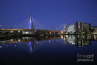 Photograph - Evening Reflections Of Leonard P. Zakim Bridge by Kimberly Nyce