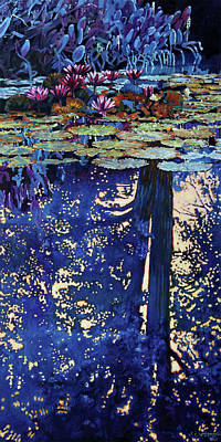 Painting - Evening Reflections On The Pond by John Lautermilch