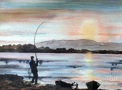 Trout Painting - Evening Rise, Lough Mask, Mayo by Val Byrne