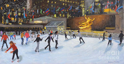 Winter Sports Painting - Evening, Rockefeller Ice Rink, New York by Andrew Macara